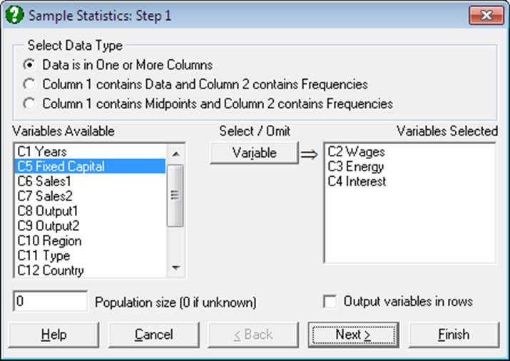 Descriptive Statistics-One-Sample Data Types